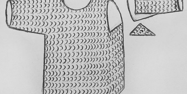 An older illustration of a chainmail shirt.
