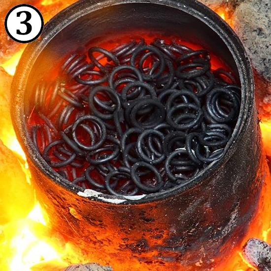 Annealing ring to make them soft for making riveted chainmail rings.