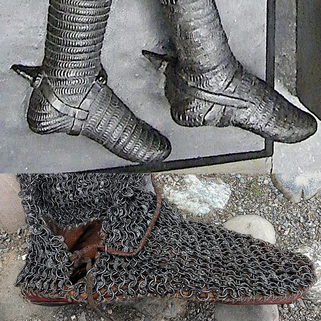 Chainmail Chausses with Shoes - original and reconstruction