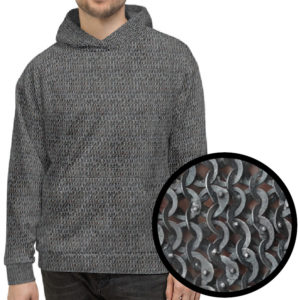 This is the ironskin chainmail patterned hoodie for LARP and cosplay.